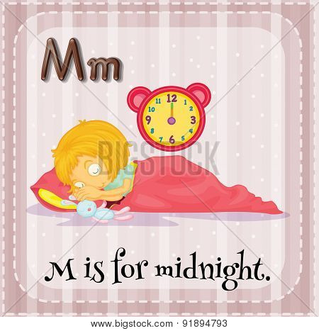 Flashcard letter M is for midnight