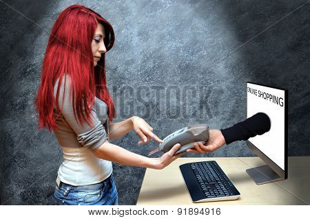 sexy redhead businesswoman online shopping
