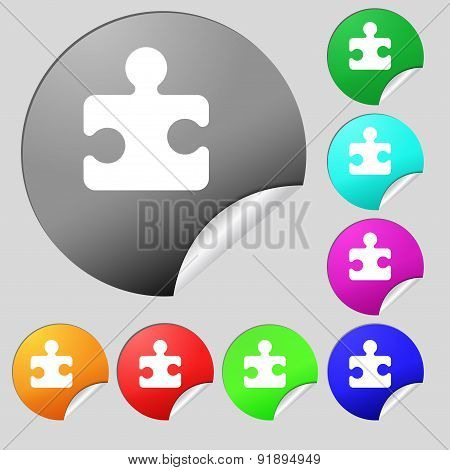 Puzzle Piece Icon Sign. Set Of Eight Multi-colored Round Buttons, Stickers. Vector