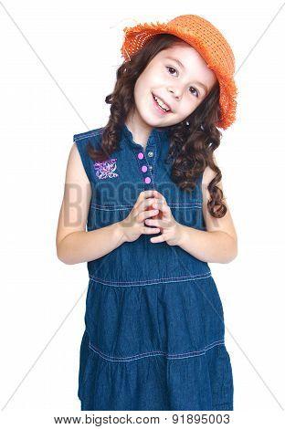 Happy joyful girl in denim dress
