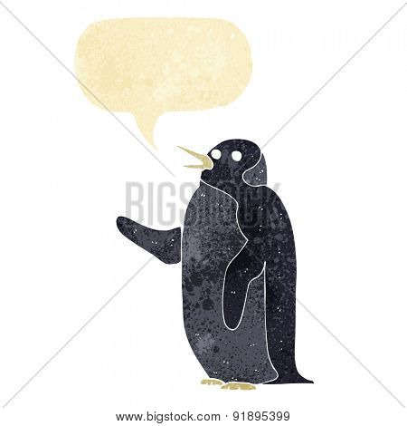 cartoon penguin waving with speech bubble