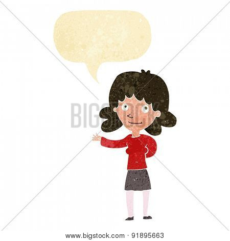 cartoon friendly woman with speech bubble