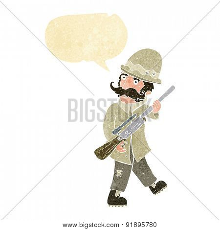 cartoon big game hunter with speech bubble