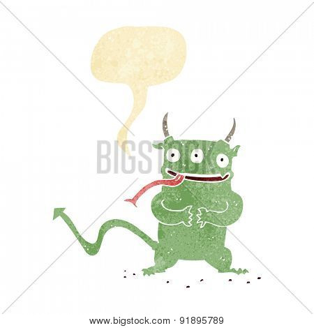 cartoon little demon with speech bubble