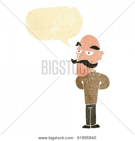 cartoon old man with mustache with speech bubble