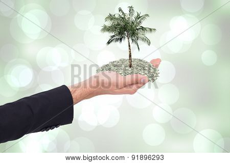 Close up of businessman with empty hand open against grey abstract light spot design