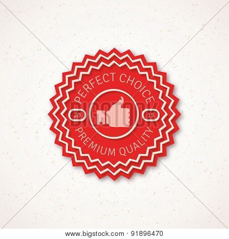 Best Choice Label  Vector Illustration with Thumb Up Icon