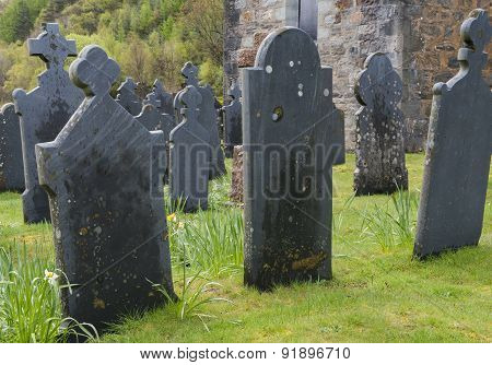 Graveyard Ballachulish With Black Gravestones