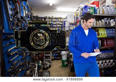 Mechanic writing notes over white background against full store room
