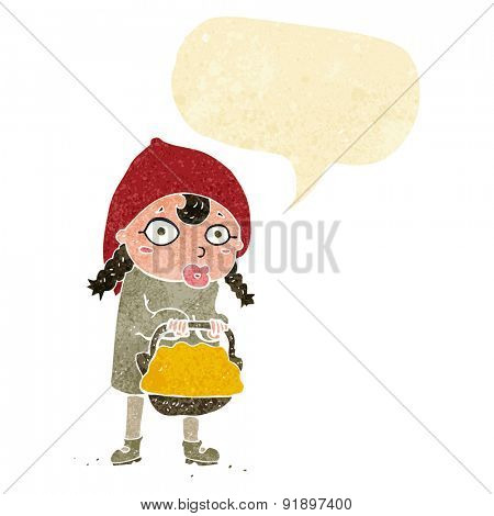 little red riding hood cartoon with speech bubble