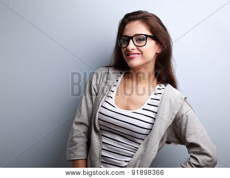 Happy Young Woman Posing In Fashion Eye Glasses