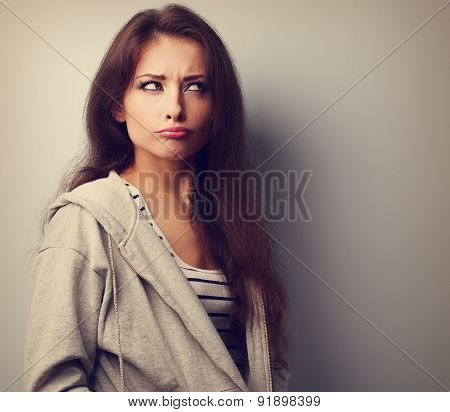 Grimacing Fun Young Woman Thinking And Looking Fun? Vintage