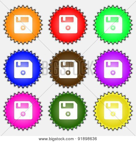 Floppy  Icon Sign. A Set Of Nine Different Colored Labels. Vector