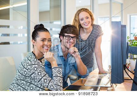 Professional designers working on computer in the office