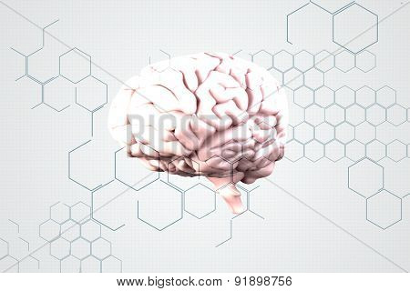 brain against chemical structure in grey and white