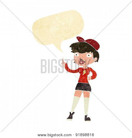 cartoon skater girl giving thumbs up symbol with speech bubble