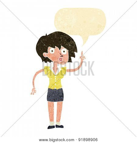 cartoon woman with question with speech bubble