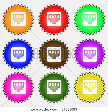 Cable Rj45, Patch Cord  Icon Sign. A Set Of Nine Different Colored Labels. Vector