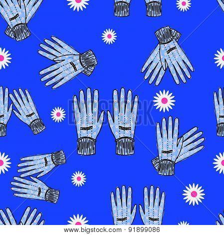 Seamless Hand-drawn Gardening Gloves Background