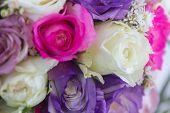 foto of purple rose  - wedding bouquet of white - JPG