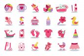 Постер, плакат: Newborn Baby girl icons set Baby shower kit