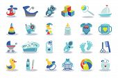 Постер, плакат: Newborn Baby boy icons set Baby shower kit