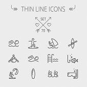 image of ski boat  - Sports thin line icon set for web and mobile - JPG