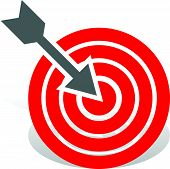 picture of bullseye  - Arrow in red target - JPG
