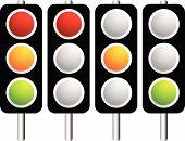 foto of traffic light  - Traffic lamps lights isolated on white - JPG