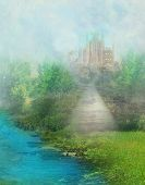 Постер, плакат: Fantasy Meadow With A Fairytale Tower