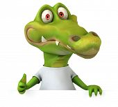 stock photo of crocodile  - Crocodile with a white tshirt - JPG