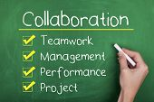 stock photo of collaboration  - Collaboration concept with teamwork - JPG