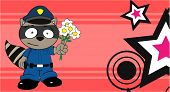 picture of raccoon  - raccoon police cartoon background in vector format very easy to edit - JPG