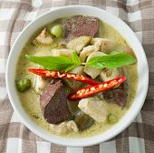 pic of curry chicken  - Delicious Thai Spicy Green Curry with Green Eggplant Chicken and Coconut Milk One of The Most Famous Curry Recipes in The World - JPG