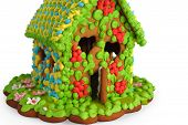 foto of gingerbread house  - Gingerbread house isolated on white background close up - JPG
