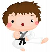 picture of karate kid  - a vector of a kid doing karate kick - JPG