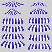pic of canopy roof  - Blue White Tents Isolated on Grey Background - JPG