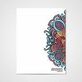 pic of letterhead  - Graphic design letterhead with hand drawn ornament in bright colors - JPG