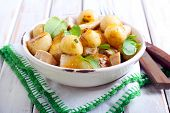 picture of  breasts  - New potatoes salad with chicken breast herbs under citrus dressing - JPG