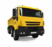 stock photo of dump-truck  - Yellow Tipper Dump Truck isolated on white background - JPG