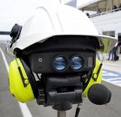 stock photo of mph  - Radar for speeding control covered with helmet and earphones - JPG