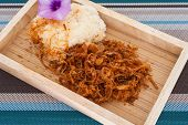 image of thai food  - Sticky rice with fried pork Thai food - JPG