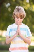 foto of pentecostal  - Little boy saying his prayers on a sunny day - JPG