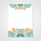 picture of letterhead  - Graphic design letterhead with hand drawn ornament in bright colors - JPG