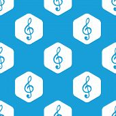 pic of clefs  - Blue image of treble clef in white hexagon - JPG