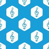 image of treble clef  - Blue image of treble clef in white hexagon - JPG