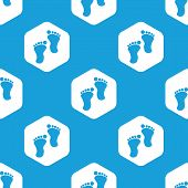 picture of webbed feet white  - Blue image of human footprints in white hexagon - JPG