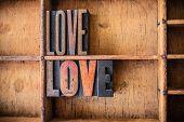 image of rapture  - The word LOVE written in vintage wooden letterpress type in a wooden type drawer - JPG