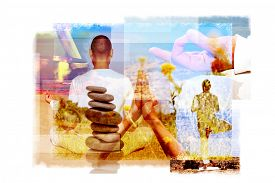 picture of tibetan  - multiple exposures of a young yogi man in different yoga positions outdoors and a stack of balanced stones or a tibetan singing bowl - JPG