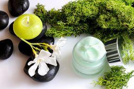 stock photo of green algae  - Open cream jar algae - JPG